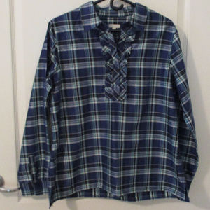 Talbots Blue Plaid Popover Blouse Ruffle Front